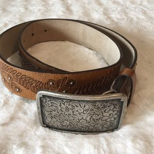 Faded Glory Brown Leather Belt. Size S/M